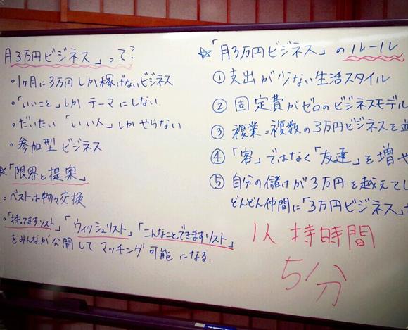 月3万円ビジネス勉強会のボード