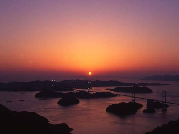 亀老山からの風景・夕焼け