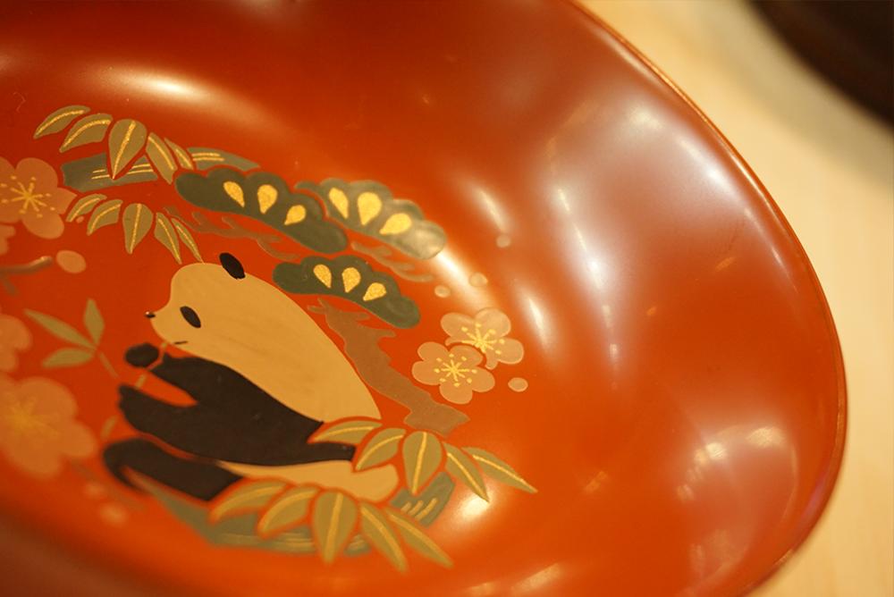 パンダモチーフ!会津塗りのコーナだったかな